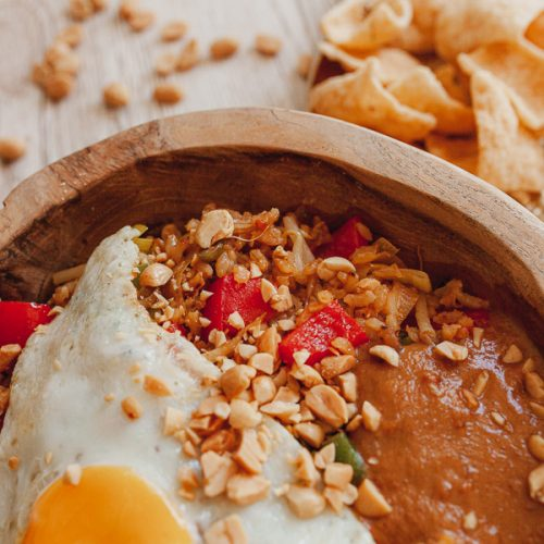 Nasi goreng vegetarian with satay sauce