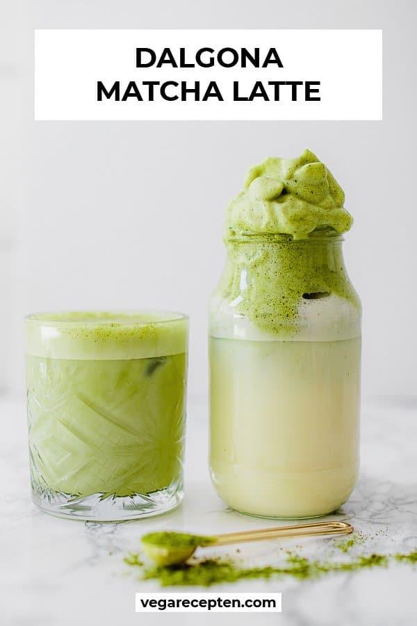 Vegan matcha dalgona latte