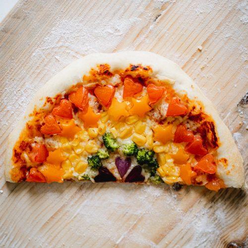 Regenboog pizza recept