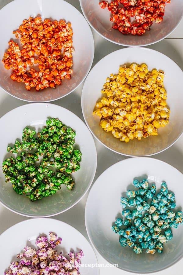 Regenboog zoete popcorn maken