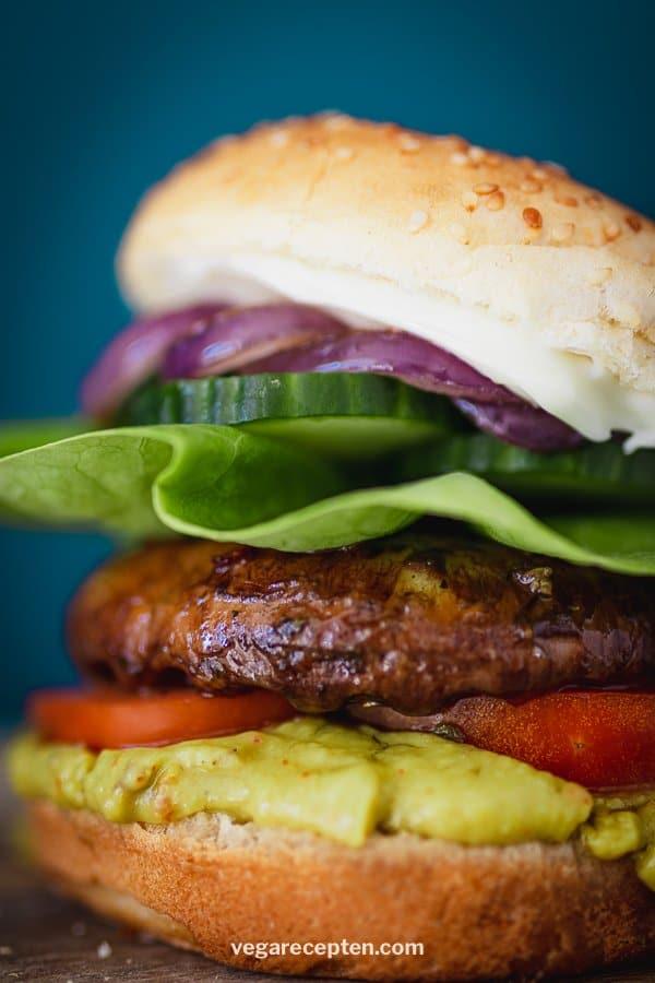 Rich-filled portobello burger