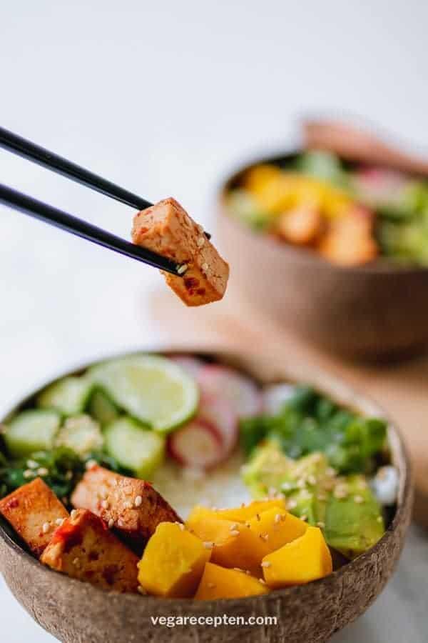 Vegetarische vegan poke bowl recept