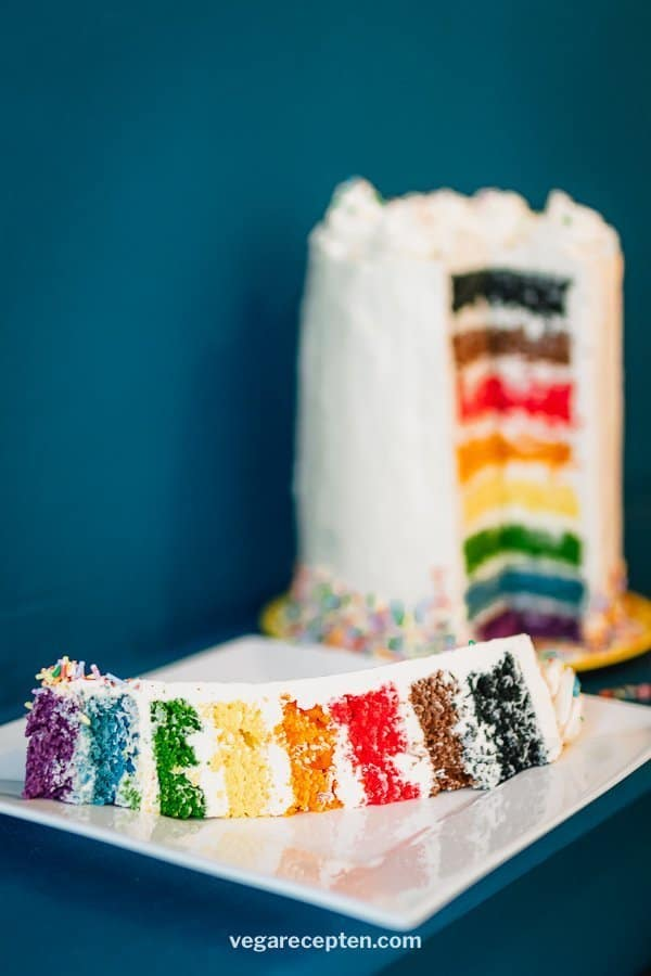 Inclusive rainbow cake vegan cake