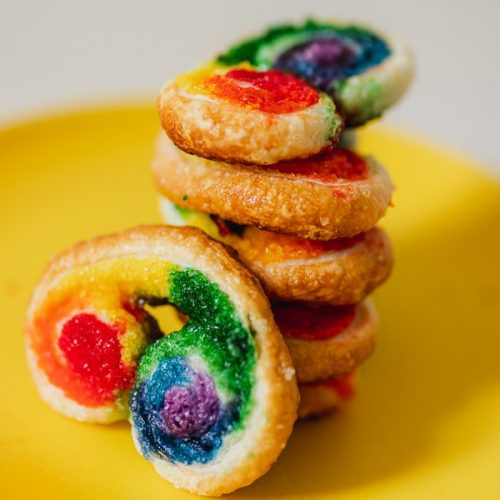 Rainbow Puff Pastry Cookies (French Palmiers)