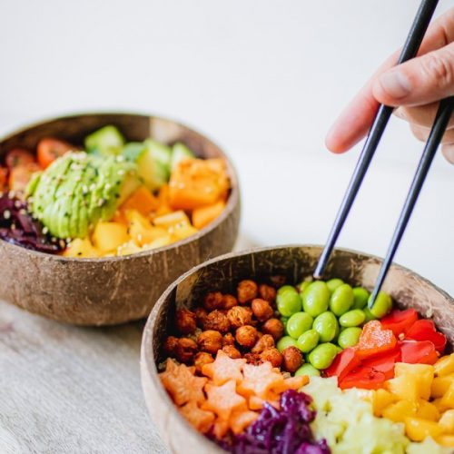 Rainbow buddha bowl vegan