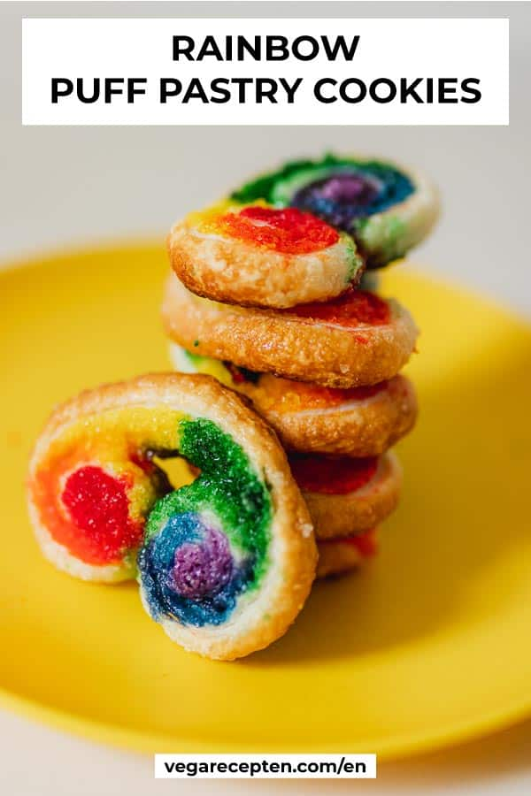 Rainbow puff pastry cookies