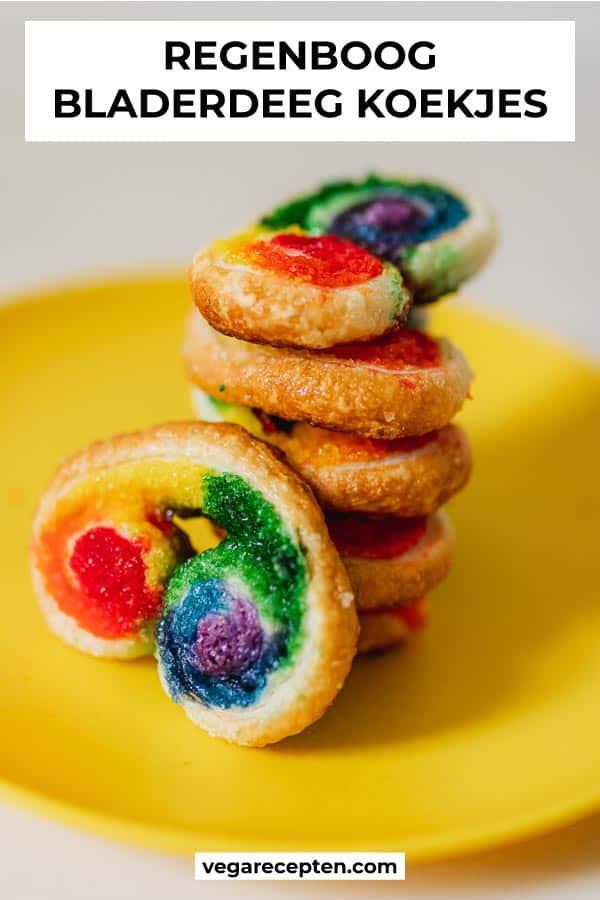 Regenboog bladerdeeg koekjes