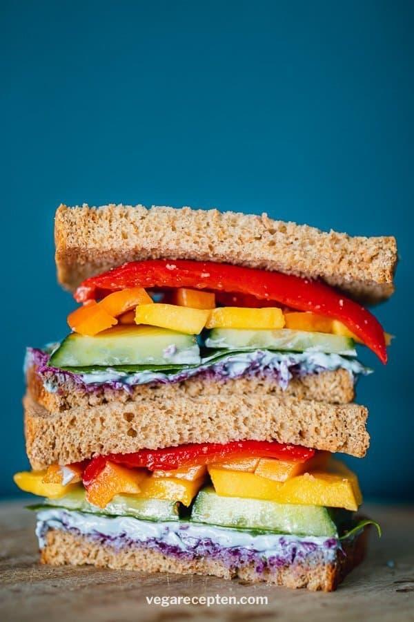 Rainbow vegetable sandwich
