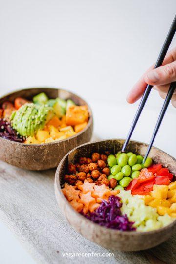 Regenboog buddha bowl recept
