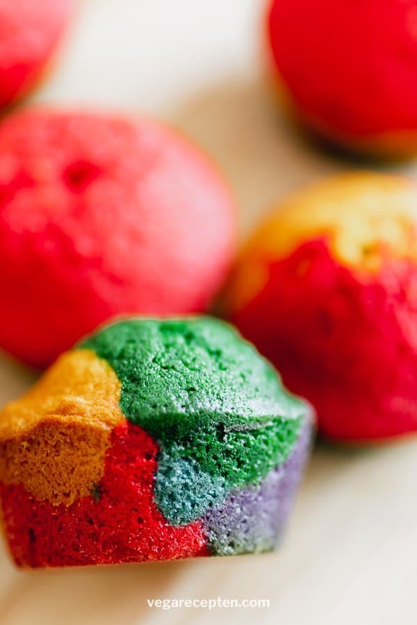 Rainbow cupcakes with stains