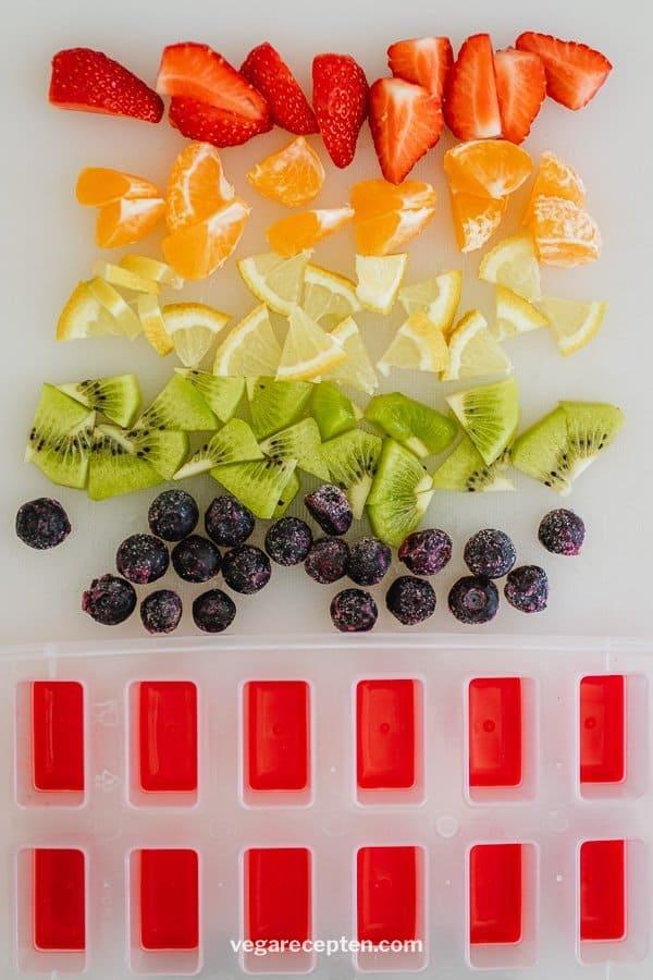 Regenboog ijsblokjes ingredienten