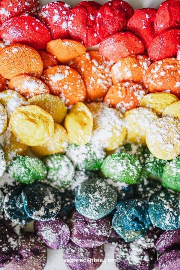 Regenboog poffertjes recept zonder gist
