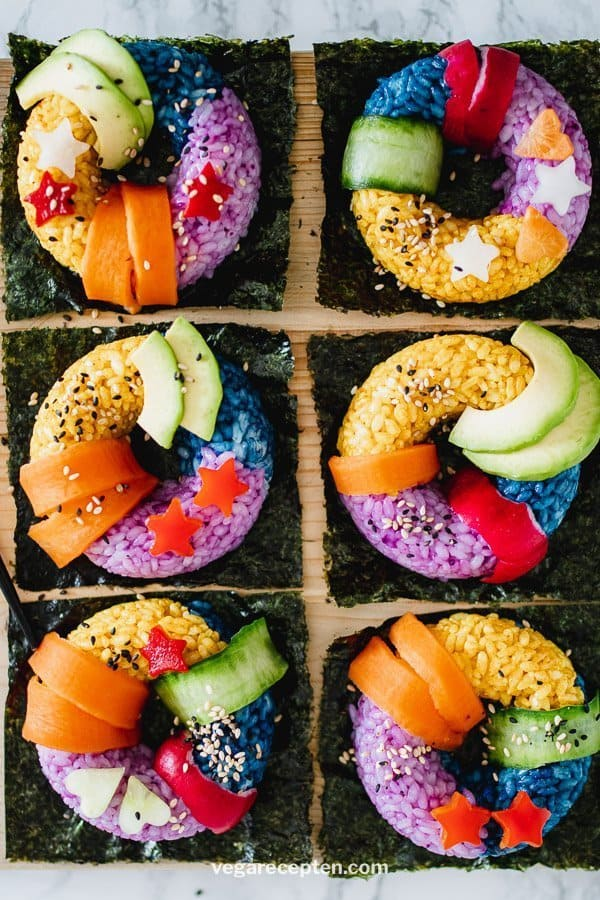 Rainbow sushi donuts
