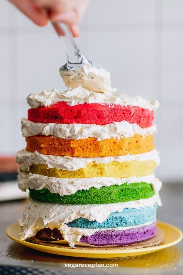 Make rainbow cake stack cake