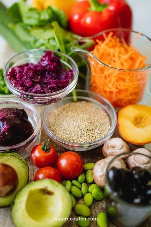 Vegan buddha bowl ingredients