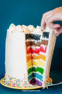 Vegan rainbow cake recipe inclusive pride flag