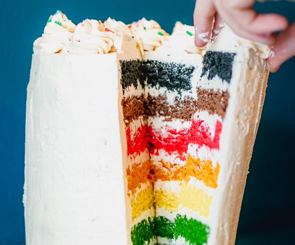 Vegan rainbow cake recipe inclusive pride flag