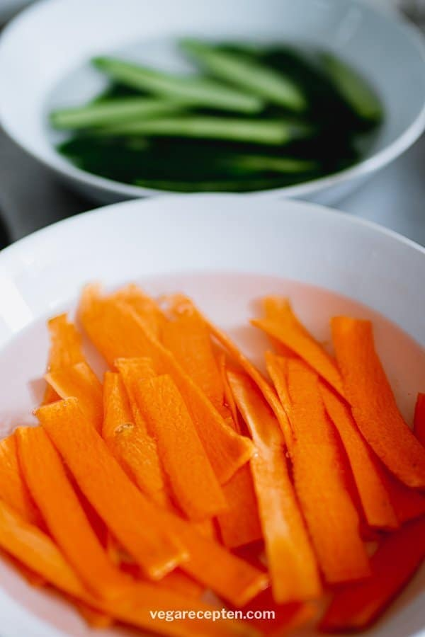 Carrot and cucumber in salt water
