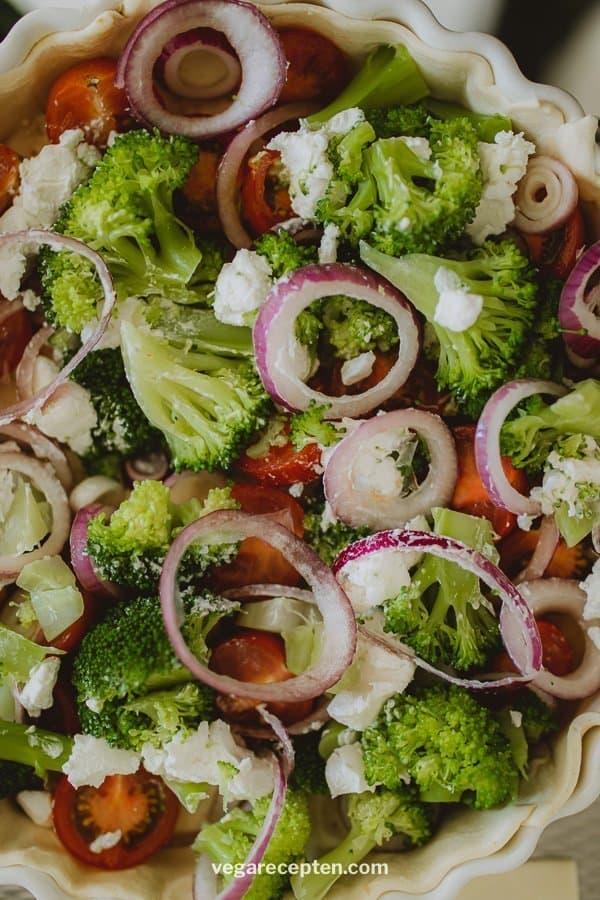Broccoli quiche geitenkaas cherrytomaat rode ui
