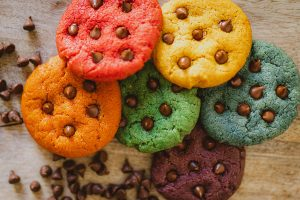 Regenboog chocolate chip cookies recept