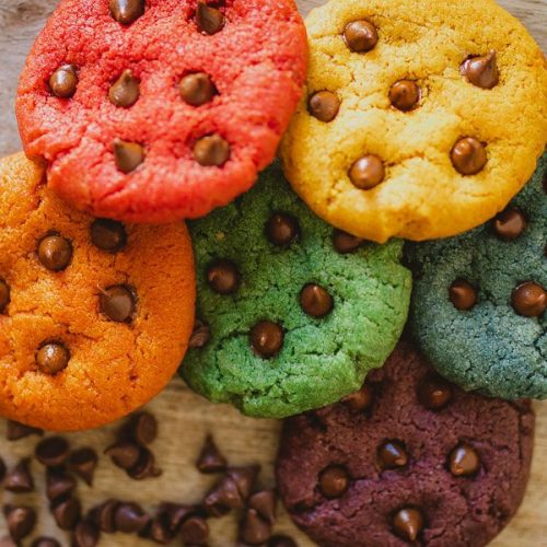 Regenboog chocolate chip cookies recept