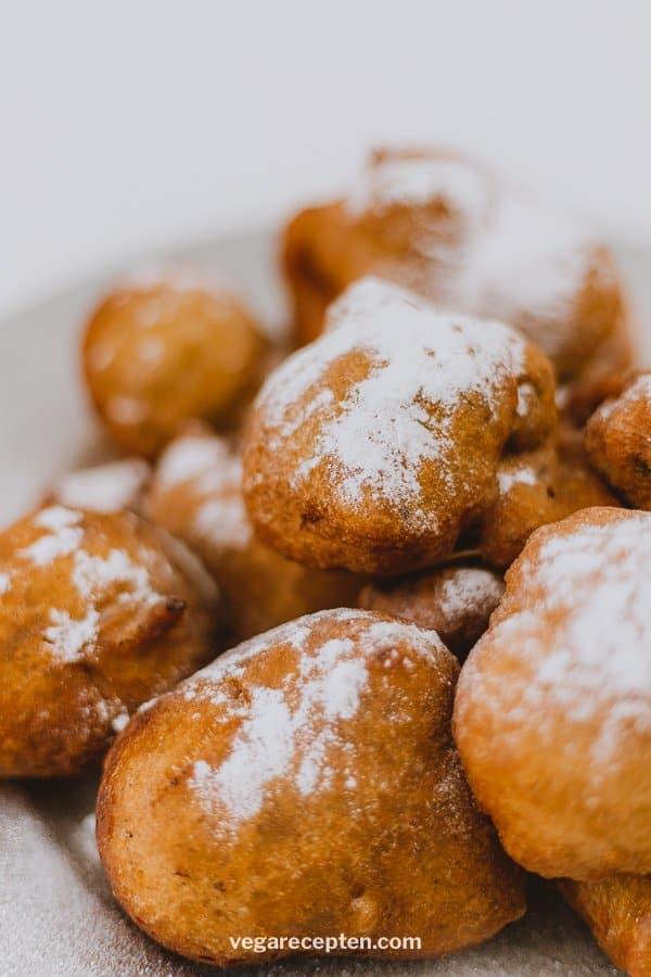 Dutch donuts oliebollen with powdered sugar