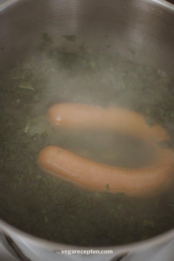 Kale vegetarian smoked sausage