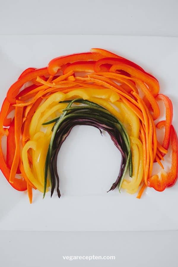 Kaasfondue groenten regenboog