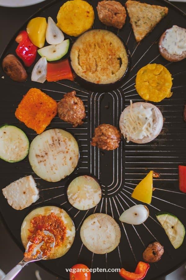 Vegetarisch gourmetten met groenten