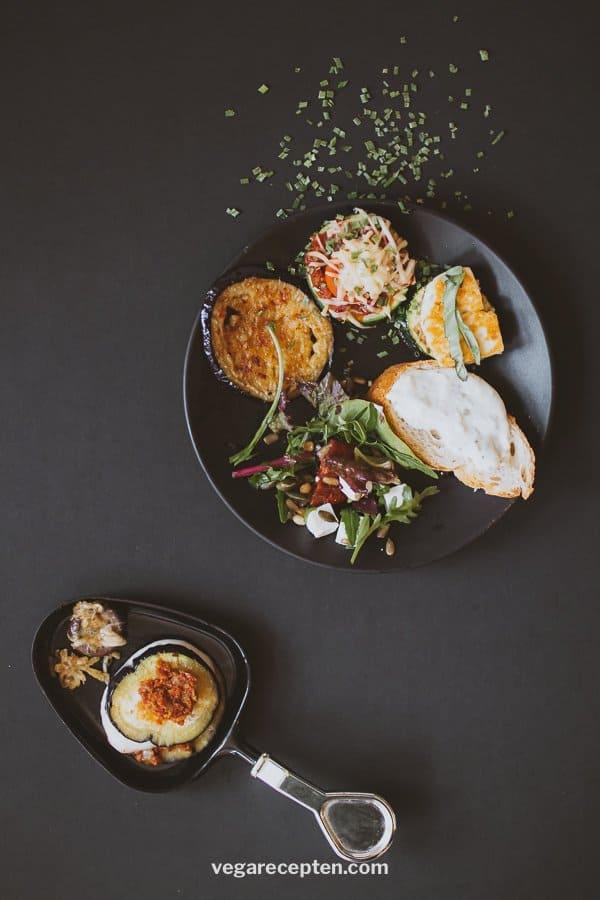 Vegetarisch gourmetten recept halloumi aubergine