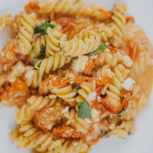 Tiktok pasta with feta cheese