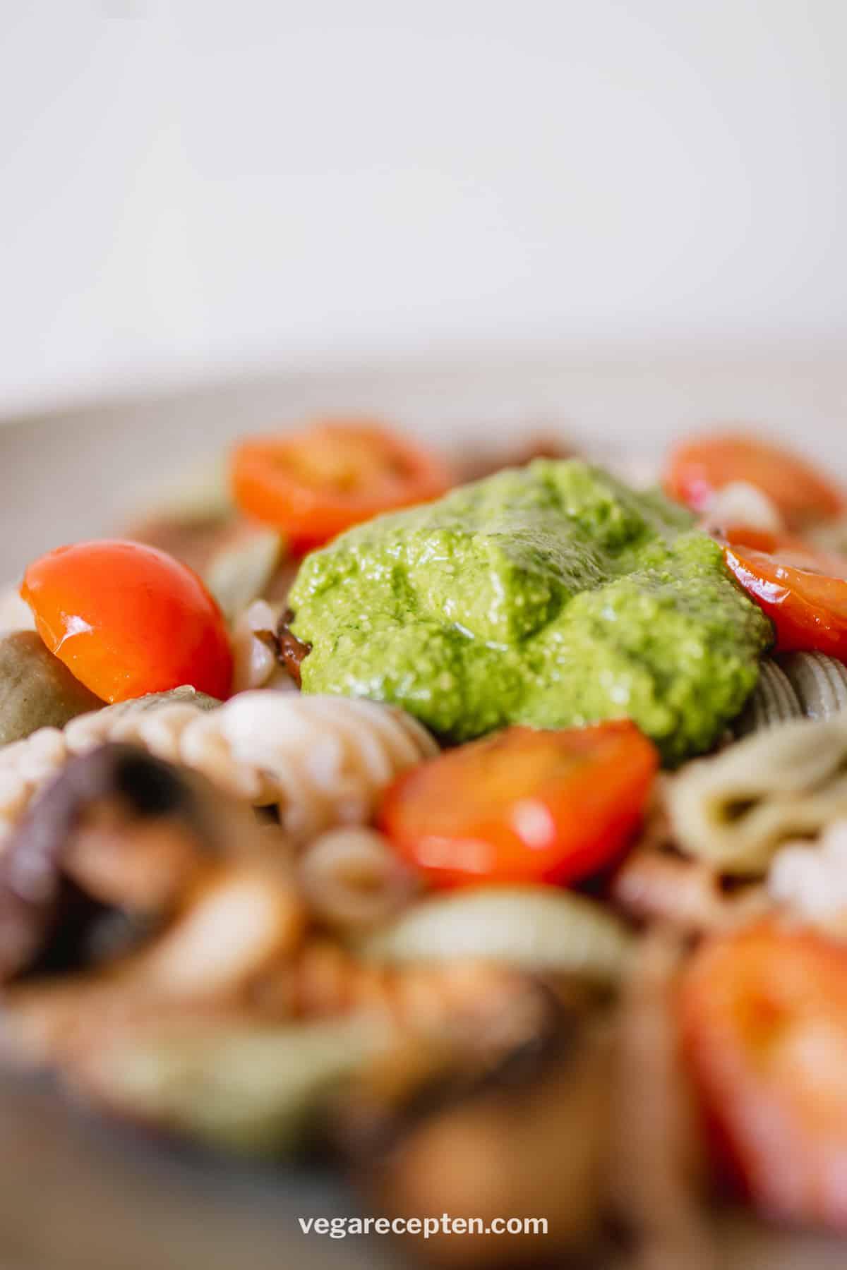 Pasta met spinazie pesto met cashewnoten