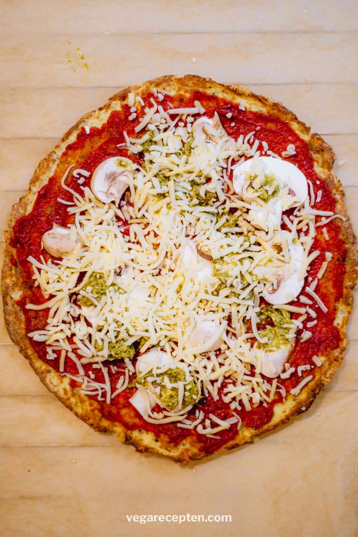 Ronde bloemkoolpizza