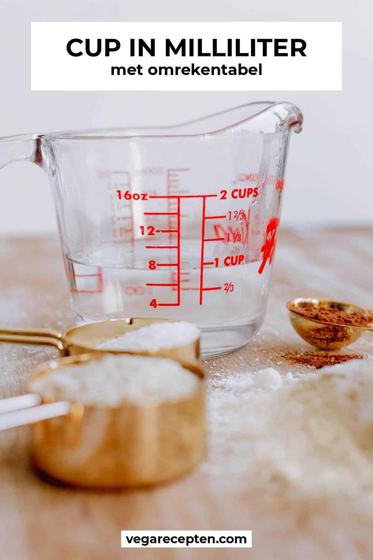 cup omrekenen milliliter