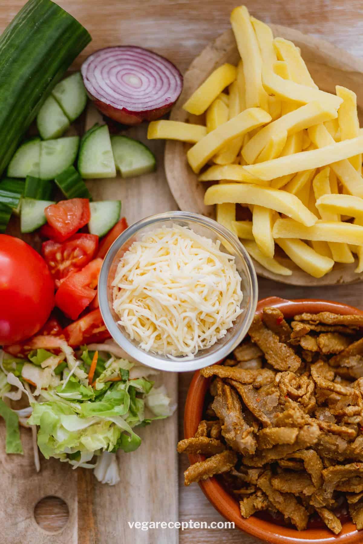 Vegetarische kapsalon ingredienten