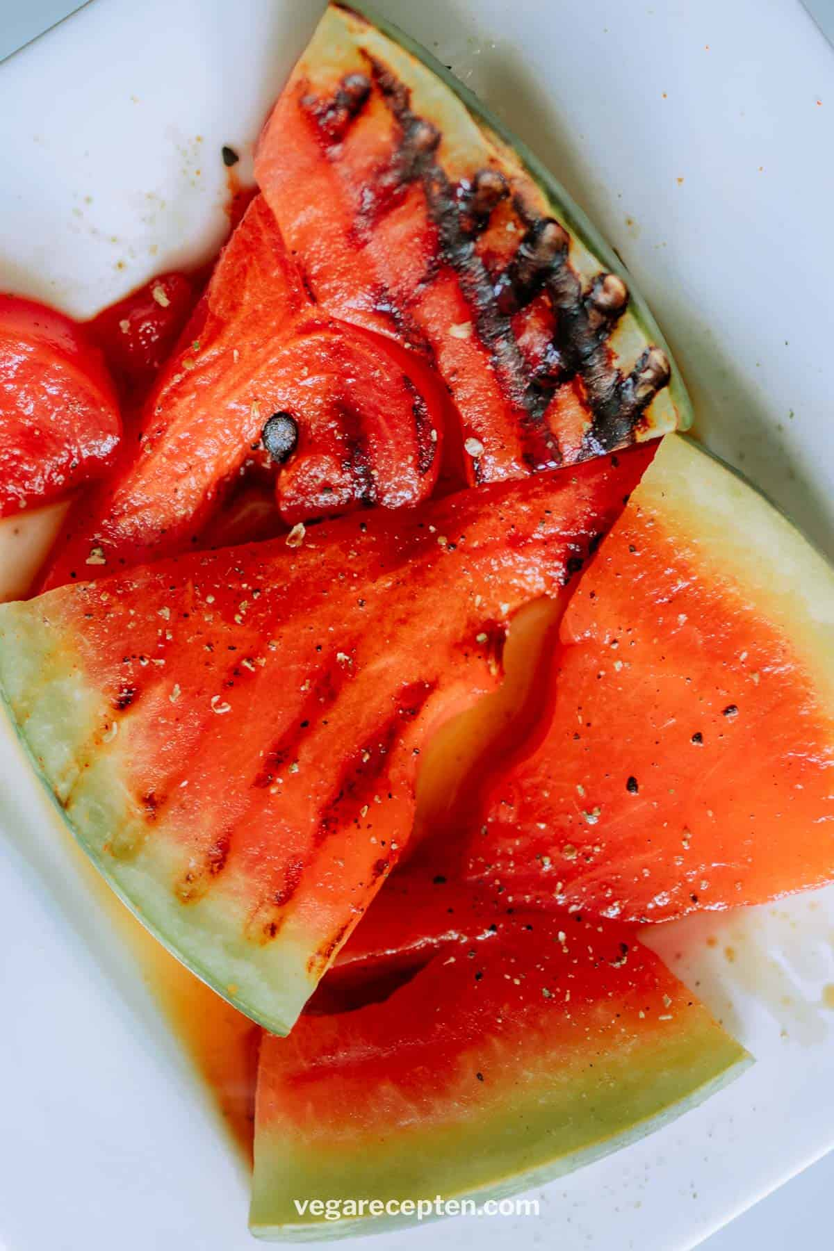 Gegrilde watermeloen vega bbq
