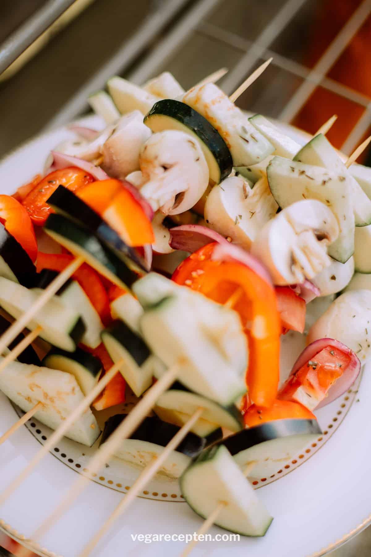 Groenten spies vegetarische BBQ